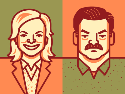 Parks & Rec leslie knope ron swanson parks and recreation parks and rec illustration vector illustrated people tv characters pawnee