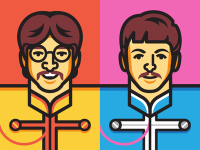 Paul & George paul mccartney george harrison the beatles sgt pepper beatles illustration vector