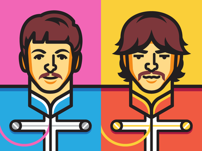 Paul & George paul mccartney george harrison the beatles sgt pepper beatles illustration vector