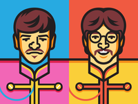 Ringo & John ringo starr john lennon the beatles sgt pepper beatles illustration vector