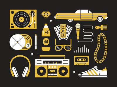 Hip Hop Objects rap hip hop vector music illustration