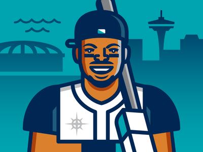 Ken Griffey Jr.  ken griffey jr. vector illustration seattle mariners home run derby baseball mlb