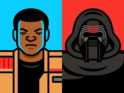Star Wars vector illustration finn kylo ren force awakens star wars