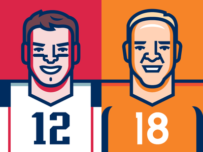 AFC Championship vector illustration football nfl denver broncos peyton manning boston new england patriots tom brady