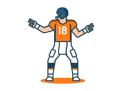 Peyton Manning quarterback sports vector illustration super bowl nfl denver broncos peyton manning