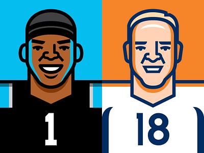 Super Bowl 50 vector illustration peyton manning cam newton denver broncos carolina panthers super bowl nfl