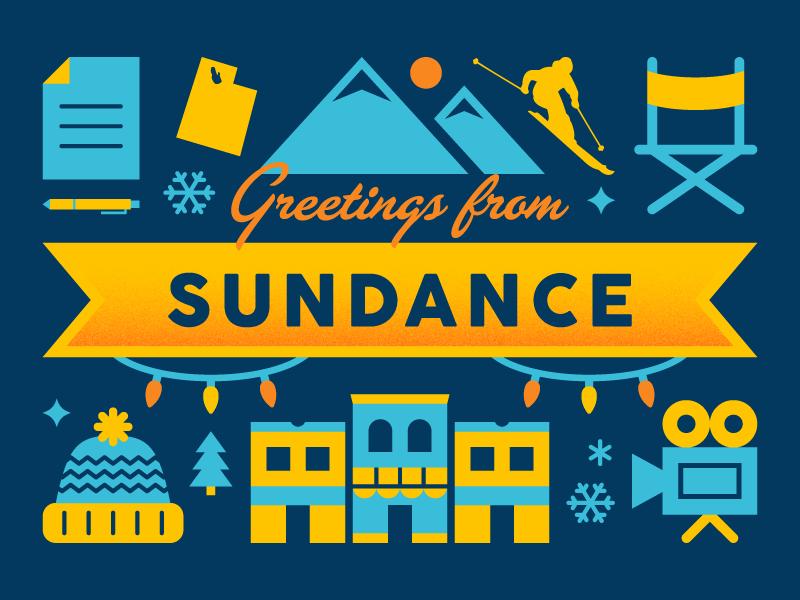 Sundance Postcard vector illustration film festival utah park city postcard movies sundance