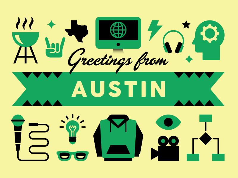 SXSW Postcard vector illustration music tech austin sxsw