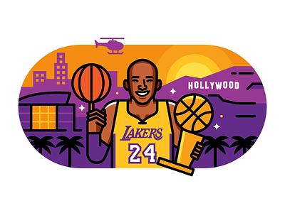 Kobe vector illustration basketball los angeles lakers nba kobe bryant