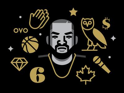 Drake toronto rap hip hop music vector illustration drake