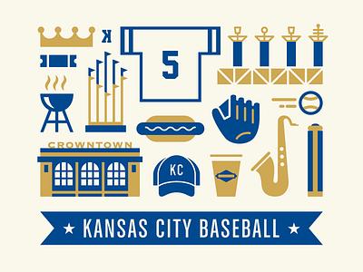 Kansas City Baseball kc screen print poster missouri kansas kauffman stadium crowntown mlb baseball royals kansas city