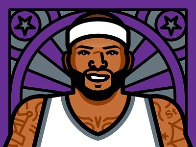 Boogie Cousins illustration vector all-star game nba sacramento kings