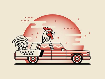 Chicken Car Part Deux illustration illinois decatur chicken car