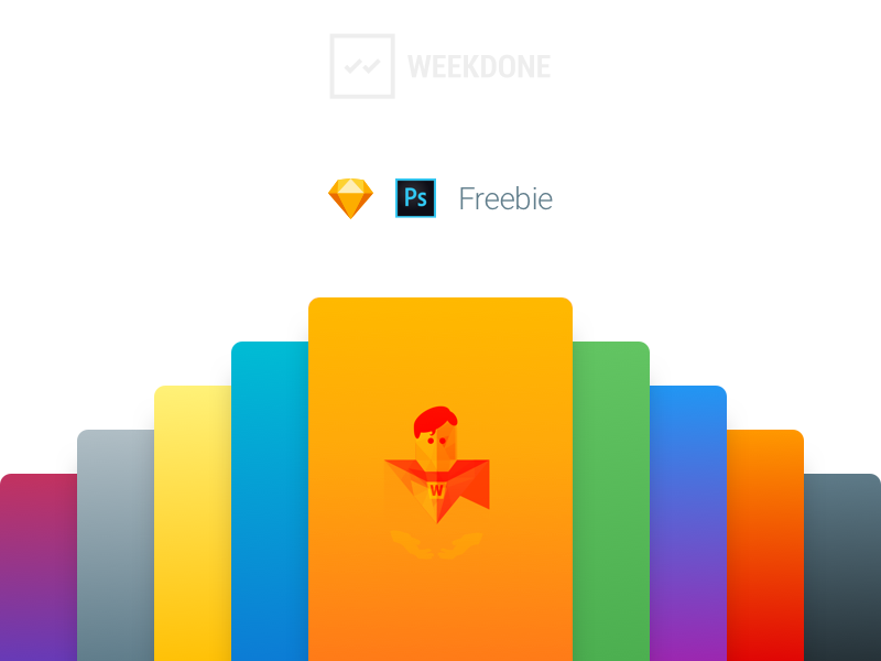 Free color gradients by Weekdone android ios app gradients photoshop sketch colors gradient free freebie