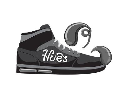 Hues B/W branding illustration shoe logo
