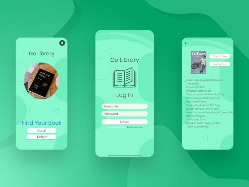Application page aplications app design app library books light green design