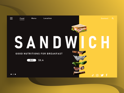 SANDWICH cook restaurant food white buy now black yellow sandwich web design design