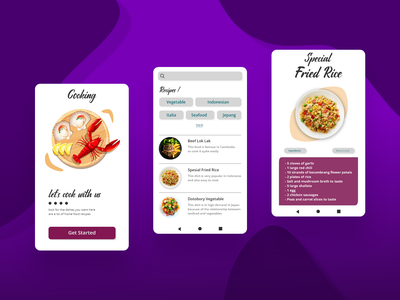 Cooking junior designs ui design purple cooking cook recipes application ui android app design food white restaurant buy now app design app design