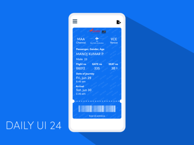 Boarding Pass for flight booking app Daily UI 24 travel app boarding boarding pass dailyuichallenge dailyui