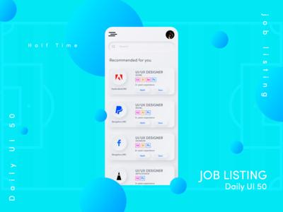 Job Listing | job search app Daily UI day 50 job application job portal job board job search job app ui job list job listing dailyui dailyuichallenge