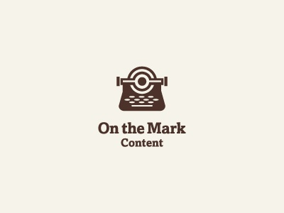On The Mark typewriter logo target content writer freelance technical accurate brown paper