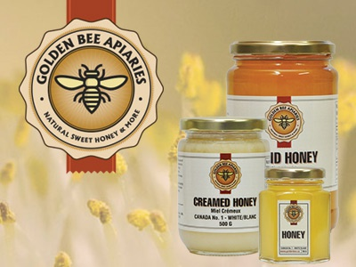 Golden Bee flowers nature beeswax seal label bees honey