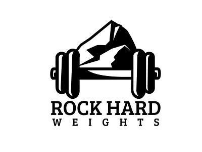 Rock Hard Weights hard rock gym workout weights branding logo vector design illustration