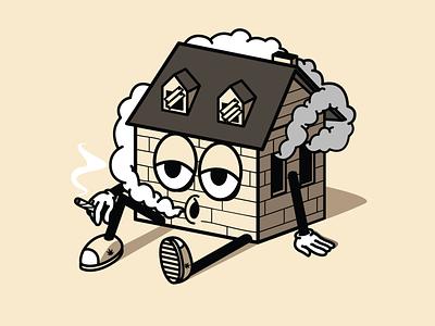 Stoner house character illustrator vector illustration design