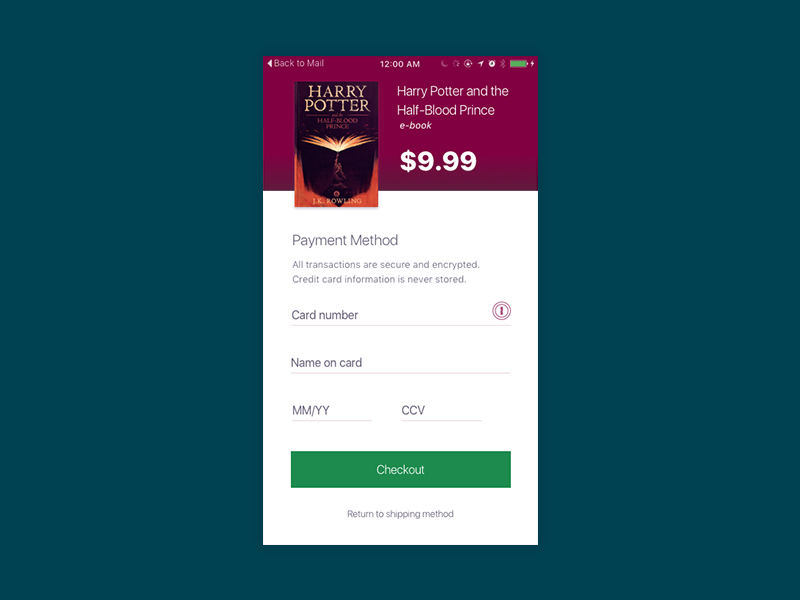 002 Credit Card Form hogwarts potter harry checkout ios card credit ui daily dailyui