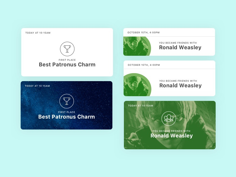 Card exploration layout card timeline profile patronus hogwarts potter harry ui daily dailyui