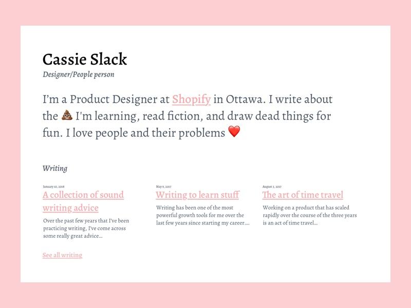 Site design personal writing blog site page landing website portfolio