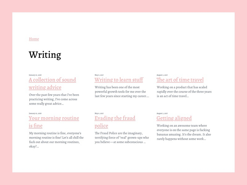 Writing Index blog website personal writing