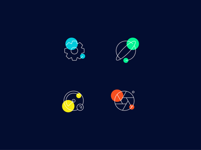 Shuffled Icons illustrator component icons set graphic design branding vector ui illustration flat 2d photo dashboard launch settings concept composition color grid