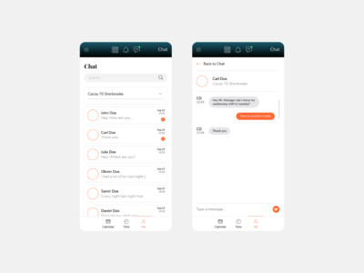 Chat UI for a Scheduling & Timekeeping App