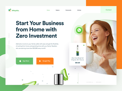 Reselling Platform products clean photography startup home whatsapp button website landing appstore stores googleplay app reseller ecommerce green orange responsive ux ui