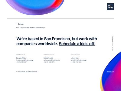 Footer Design studio agency animation art direction bubbles trendy white minimalist schedule contact gradient team startup footer website landing responsive clean ux ui