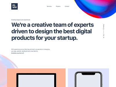 Hero Design showcase microinteraction animation portfolio project header hero startup gradient white agency company landing page website landing responsive app clean ux ui