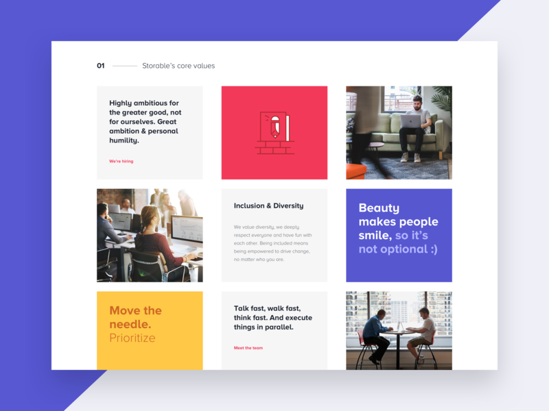 Grid Layout - Blocks ux ui inspiration system layout gray icons white clean landing page purple yellow website culture values landing responsive blocks colorful grid