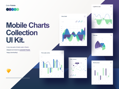 Mobile Charts download app resource green blue pack collection free gradient cards blocks art direction ux ui sketch palette stats chart charts mobile