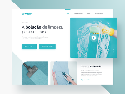 Cleaning Landing Page portugal responsive photography services housekeeping ironing cleaner vacuum grid video web landing blue green cleaning clean app ux ui
