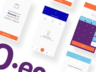 Wallet App onboarding icons navbar calendar header tabs button purple blue orange empty calculator finance financial art direcion palette app ux ui