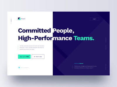 Community Landing Page aboard performance people art direction buttons home sign up company teams values coworkers community green blue website responsive landing clean ux ui