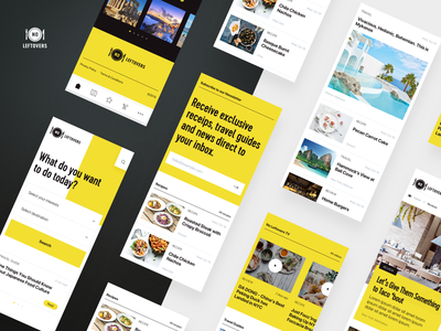 Food and Travel Mobile search subscribe videos destination restaurants reviews recipes travels photography white black dark yellow food website landing responsive clean ux ui