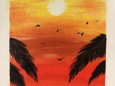 Sunset (not full pic) art sun palm sunset painting acrylic