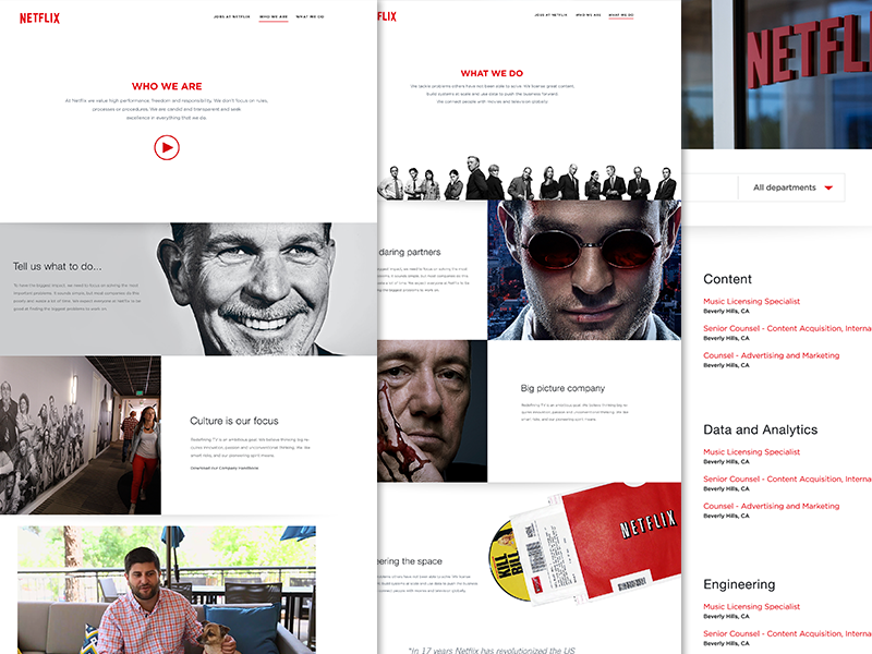 Netflix Jobs | WIP website identity branding design subscriptions series television movies netflix responsive