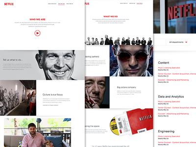 Netflix Jobs | WIP website identity branding design subscriptions series television movies netflix responsive
