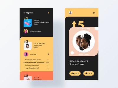 music page ui product typography app minimal modern interactive design layout clean