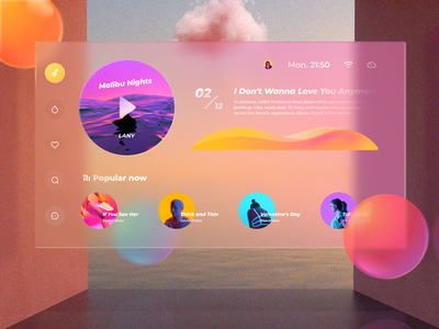 Virtual Desktop player gradient music typography interactive design ui layout clean