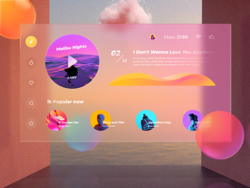 Virtual Desktop player gradient music typography interactive design ui layout clean
