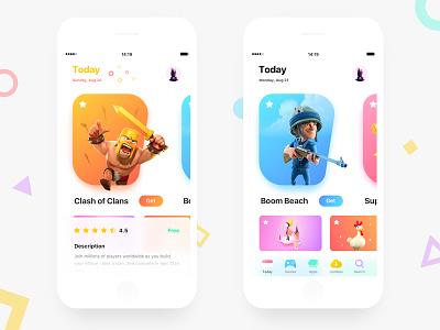 App Store app clean design app store gradient ui light game colorful layout
